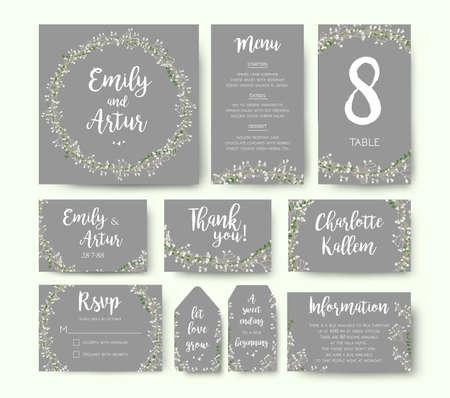 Wedding floral invitation invite flower card silver gray design: garden Baby's breath Gypsophila tiny flower wreath romantic rsvp, menu, label, thank you cards. Vector romantic print. Elegant template. Vettoriali