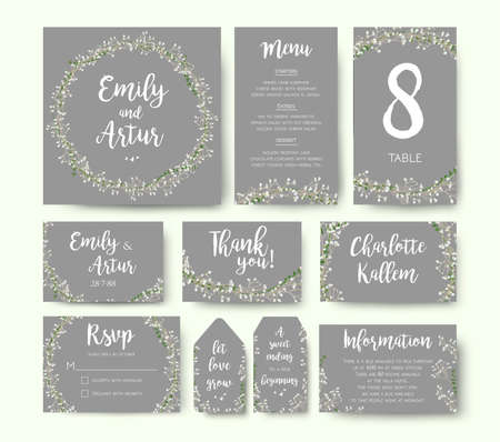 Wedding floral invitation invite flower card silver gray design: garden Babys breath Gypsophila tiny flower wreath romantic rsvp, menu, label, thank you cards. Vector romantic print. Elegant template. Çizim
