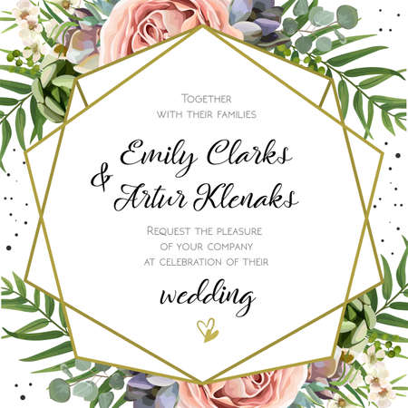 Wedding Invitation, floral invite card Design: Peach lavender pink garden Rose, succulent, wax, eucalyptus, green palm leaves, forest fern greenery geometric golden frame print. Vector cute copy space Illustration