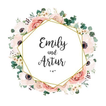 Convite de casamento floral elegante vector de cartão de convite Design: jardim flor rosa, pêssego Rosa, branco cera Verde de anêmona Eucalipto concurso verde, buquê de baga, moldura dourada de impressão geométrica, cópia espaço Ilustración de vector