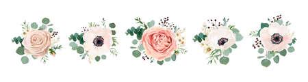 Projeto do ramalhete floral do vetor: flor cor-de-rosa do pêssego cor-de-rosa do pêssego do jardim flor pálida da cera de Rosa, anêmona A hortaliças do ramo do eucalipto sae da baga. Wedding vector invite card Conjunto de elemento aquarela designer Ilustración de vector