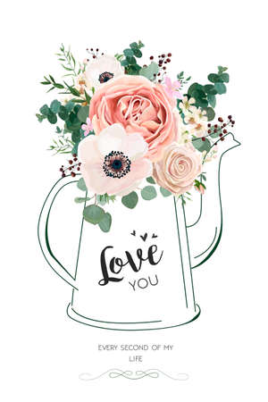 Floral elegant card vector Design: Rose peach flower white wax, Anemone green Eucalyptus greenery berry bouquet in line hand drawn kettle vase illustration. Elegant rustic Wedding invite love you text Иллюстрация