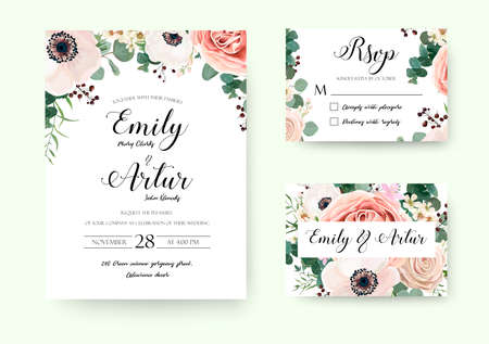 Wedding Invitation floral invite Rsvp cute card vector Designs set: garden lavender pink peach Rose white Anemone wax green Eucalyptus thyme leaves romantic trendy greenery forest bouquet rustic print Vectores