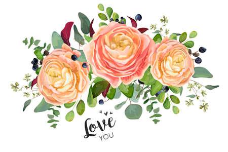 ベクトルフローラルカードデザイン:ガーデンピーチローズラナンキュラスの花ユーカリの枝、緑の森シダの葉ブルーベリーブーケ。ウェディングベ