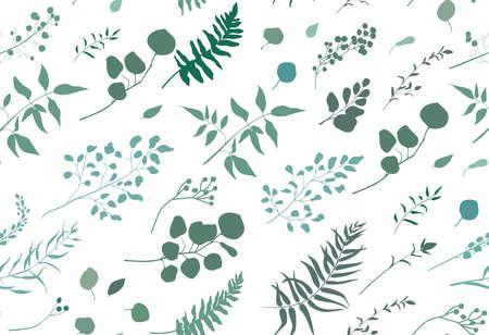 Padrão sem emenda de samambaia de palmito de eucalipto árvore diferente, ramos naturais de folhagem, folhas verdes, ervas, berinjela tropical mão desenhada silhueta de aquarela Aquarela elegante fundo de vetor em branco Ilustración de vector