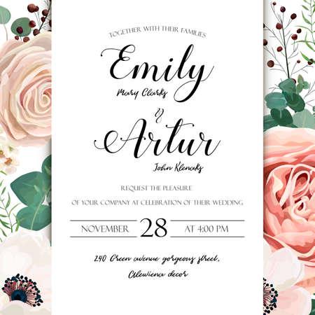 Floral Wedding Invitation elegant invite card vector Design: garden flower lavender pink peach Rose white wax, Anemone green blue Eucalyptus elegant greenery, berry bouquet print frame with copy space