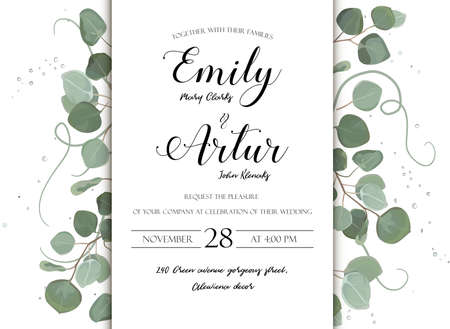 Wedding floral hand drawn invite invitation card design: Eucalyptus silver dollar branch greenery natural leaves watercolor style, rustic, elegant delicate green anniversary copy space beauty template