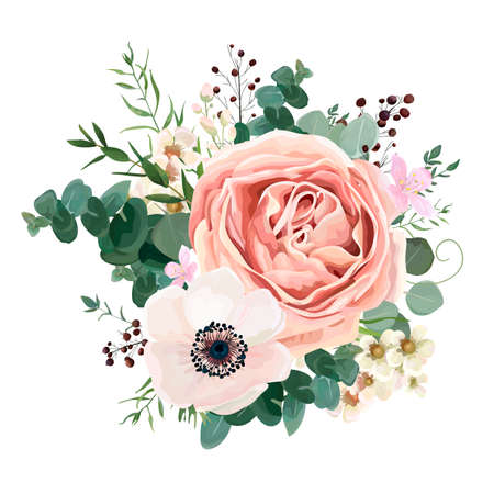 Blumenkartenvektor Design: Gartenblumenlavendel-Rosapfirsich Rose weißes Anemonenwachsgrün-Eukalyptusthymian verlässt elegantes Grün, Beere, Waldblumenstraußdruck Hochzeitseinladung elegant einladen.