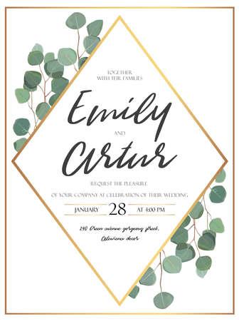 水彩ユーカリの木緑のベクトル花のデザインカードは、枝植物の緑を残します。自然な植物の挨拶の結婚式の招待状。幾何学的なロンバスの黄金の