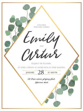 Vector floral design card with watercolor eucalyptus tree green leaves branch plant greenery. Natural botanical Greeting wedding invitation invite. Geometrical rhombus golden Frame border & copy space Illusztráció