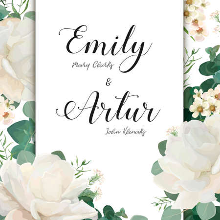 Floral Wedding Invitation save the date card elegant invite card vector Design: garden flower white Rose peony white wax green blue Eucalyptus tender greenery bouquet print frame and copy space layout