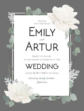 Vector floral wedding invitation, invite, save the date card design with Flower Bouquet of white Roses peony, eucalyptus branches dusty miller silver leaves herb. Elegant, tender cute template on gray