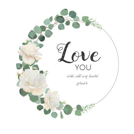 Cartão de design floral vetor. O ramo bonito do eucalipto da flor de Rosa branca com folhas & as hortaliças misturam a grinalda redonda. Saudação, casamento convidar template.Round fronteira frame com amor você citar. Espaço da cópia do concurso