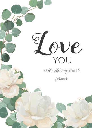 """Cartão floral de design floral. Flor de peônia em pó de rosa branco, ramo de eucalipto com folhas e vegetais, buquê de guirlanda de mistura. Cartão postal, modelo de convite de casamento. Enquadre com """"Love you"""" quote. Espaço de cópia bonito Foto de archivo - 92843383"""