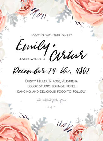Floral wedding invitation template with bouquet of peach, white rose peony, dusty miller silver leaves design. Illustration
