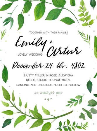 Wedding Invitation template with green fern leaves design illustration. Çizim