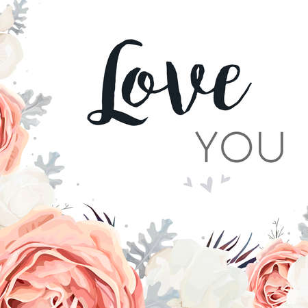 Wedding greeting card template with pink peach garden rose, white peony flower and dusty miller silver leaves design. Illustration
