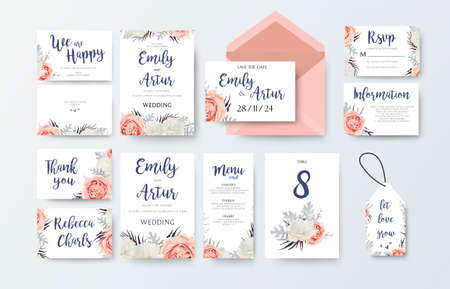 Wedding invitation, invitation menu, thank you, rsvp, label card vector floral design with pink peach garden Rose, white peony flower, agonis dusty miller miller leaves pattern. Watercolor elegant big set
