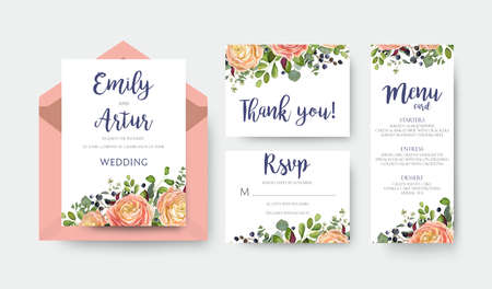 Wedding invite invitation menu thank you rsvp card vector floral design with pink peach garden Rose, ranunculus flower eucalyptus forest fern leaves bright pattern. Watercolor rustic style elegant set