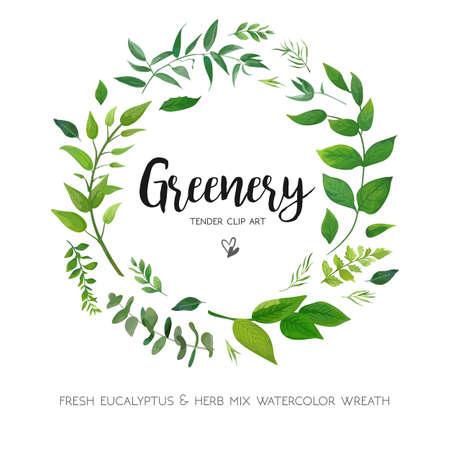 Diseño de tarjeta floral con hojas de helecho de eucalipto verde. Verdor elegante, hierbas bosque redondo, círculo guirnalda hermosa linda marco rústico borde imprimir.