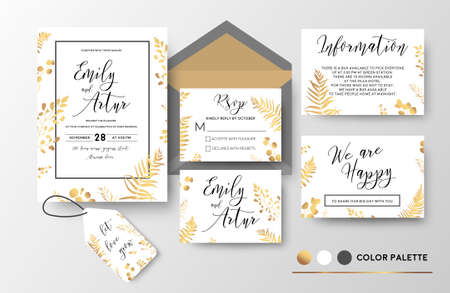 Wedding invite, invitation, thank you, rsvp, label card vector floral design; golden foil print pattern of forest leaves, palm, fern fronds, eucalyptus branch, berry herbal mix. Luxury elegant big set  Çizim
