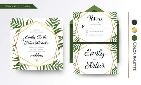 Wedding Invitation, save the date, rsvp invite card Design with green tropical forest palm tree leaves, forest  greenery simple, geometric golden border hexagonal foil print. Vector floral copy space template set