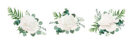 Il mazzo floreale di vettore ha messo della peonia bianca della polvere del giardino, del fiore di Rosa, delle foglie di palma della pianta del ramo dell'eucalyptus e delle erbe verdi si mescolano. Acquerelli eleganti elementi di design per il design. Isolato e modificabile