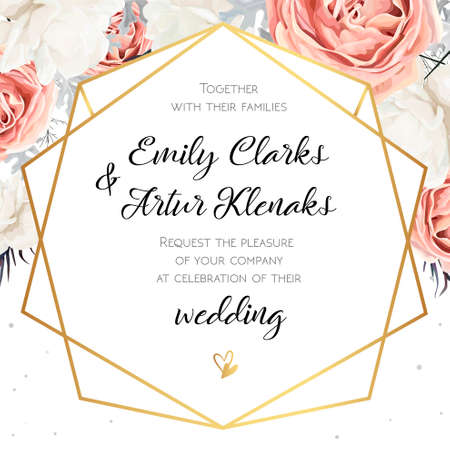Vector floral wedding invitation invite card design with Flower Bouquet of Peach, white Rose Peony, dusty miller leaves Vettoriali