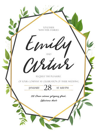 Vector wedding invite invitation save the date floral card design. Green fern, forest leaves herbs, greenery plant mix. Natural botanical Greeting editable template. Ilustrace