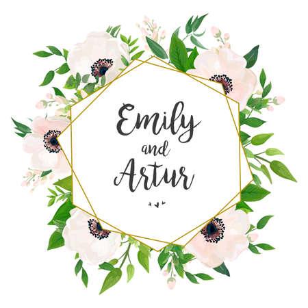 結婚式の招待、招待状、日付カードのデザインを保存:白いピンクのアネモンポピーの花、緑の葉、ユーカリの緑の葉の森の花束と金色の幾何学的な