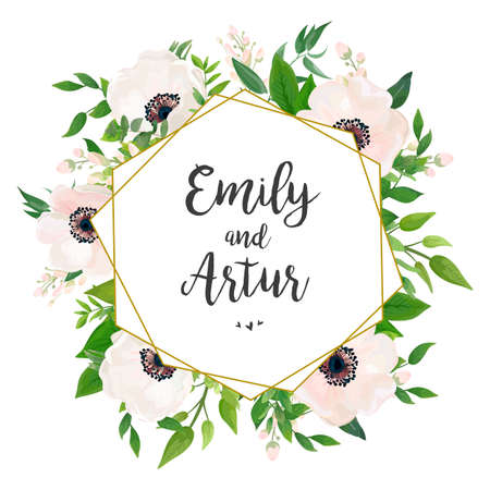 Wedding invite, invitation, save the date card design: white pink Anemone poppy flower, green leaves, eucalyptus greenery foliage forest bouquet and golden geometric foil frame.