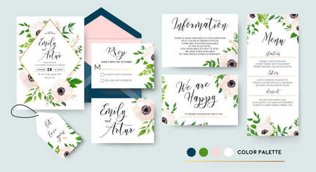 Wedding invite, menu, rsvp, thank you label save the date card Design with white, pink anemone flowers, green leaves greenery foliage bouquet & golden frame. Vector cute rustic delicate chic layout.