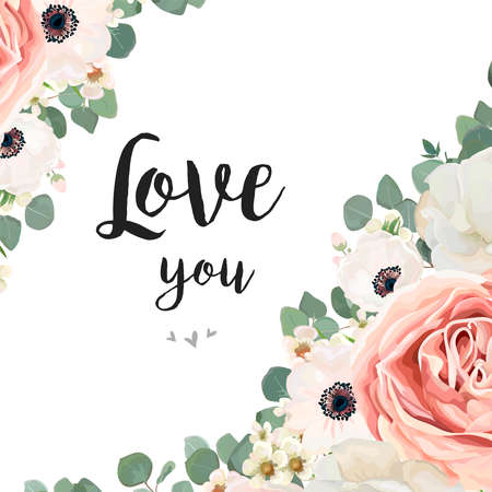 Vector floral design card. White Rose flower pink Anemone, creamy wax eucalyptus branch, leaf greenery mix.