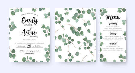 Wedding invite invitation menu card vector floral greenery design: forest Eucalyptus branches.