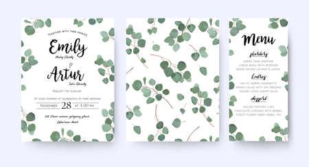 Matrimonio invito menu carta vettoriale floreale verde design: rami di eucalipto foresta. Vettoriali