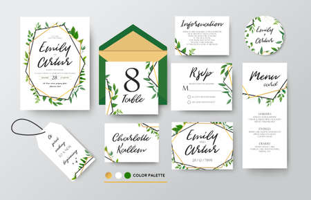 Wedding invite, menu, thank you, label, green, foliage, eucalyptus, fern Stock fotó - 92856391