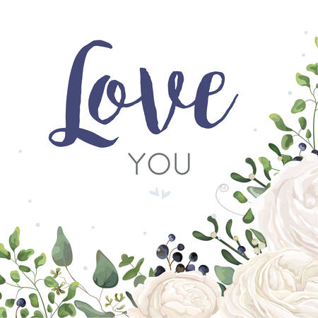 Vector floral card Design with watercolor white ranunculus flower blue berry eucalyptus mistletoe fern leaf bouquet border. Wedding invite, invitation, postcard. Love you text
