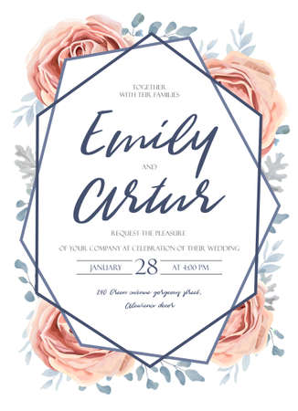 Wedding invitation, invitation, save the date card design: pink peach garden, rose flower, blue dusty miller leaves, fern greenery forest bouquet and geometric frame. Vector tender rustic postcard editable template