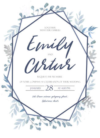 Wedding invite, invitation, save the date card design with light watercolor blue color dusty leaves, fern greenery forest herbs, plants.