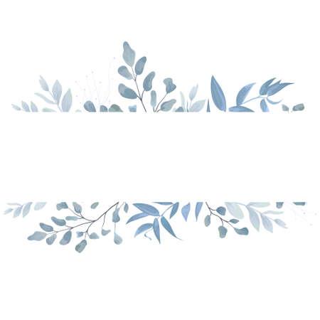 Blumenkarte, Postkarte laden Design mit helle Aquarellhand gezeichneten blaue Farbstaubigen Blättern, Farngrün-Waldkräuter, Pflanzen ein. Zarter eleganter Rahmen, Grenzkopienraum. Beauty bearbeitbares Layout.