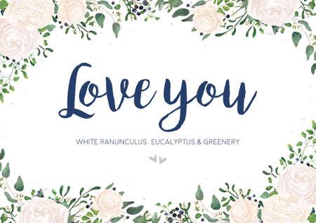 Garden white, creamy Ranunculus flower, green Eucalyptus, greenery fern mistletoe leaves