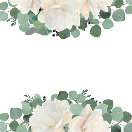 Blumenkartenentwurf mit der weißen, sahnigen Pfingstrose des Gartens, Rosen-Blume, silbernes Eukalyptusthymiangrün verlässt elegante Grünblaubeerblumenstraußgrenze, Rahmen. Eleganter Grünplan der Vektoraquarell-Art.