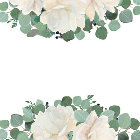 Conception florale de carte avec un jardin blanc, une pivoine crémeuse, une fleur de Rose, de l?argent des feuilles de thym Eucalyptus argent, une élégante bordure de bouquet de verdure et de myrtille, un cadre. Disposition de verdure élégante vecteur style Aquarelle.