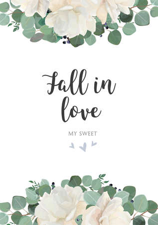 Floral card border design with Fall in love text. Ilustracja