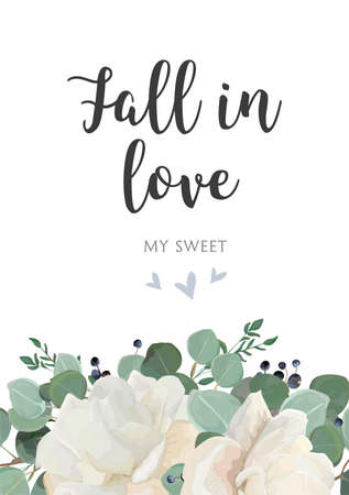 Floral card vector design. Garden white, powder peony, Rose flowers, Eucalyptus green leaves branches elegant herbal greenery, blueberry bouquet frame, border. Rustic wedding invitation postcard.