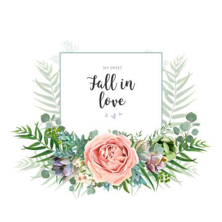 Floral invite greeting postcard card design. Garden pink Rose wax flower, Eucalyptus branch green palm leaves succulent bouquet watercolor wreath. Romantic art editable illustration. Text space. Vectores