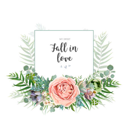 Floral invite greeting postcard card design. Garden pink Rose wax flower, Eucalyptus branch green palm leaves succulent bouquet watercolor wreath. Romantic art editable illustration. Text space. Çizim