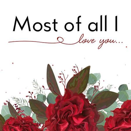 Floral card design. Garden red burgundy bohemian Rose flower, seeded antique Eucalyptus branch, silver green fern leaves bouquet. Watercolor cute wedding invite, elegant greeting card postcard. Illustration
