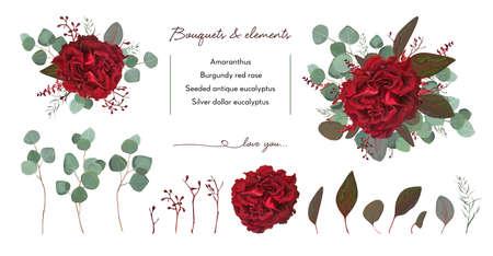 庭の赤いバーガンディローズの花、種のユーカリの枝と花の花束のデザイン。