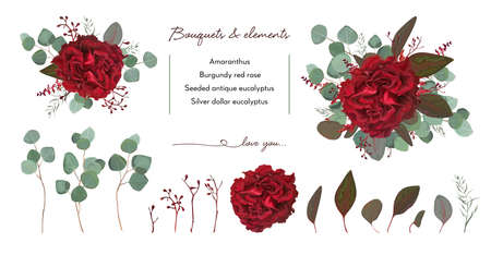 Floral bouquet design with garden red burgundy Rose flower, seeded Eucalyptus branch.